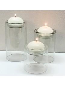 Set de tres Portavela Minimalista Cristal