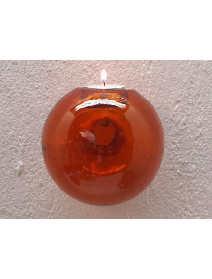 Portavela Esfera Pared Naranja