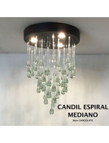 Candil Espiral Mediano Cristal Base Chocolate