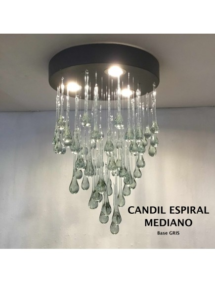 Candil Espiral Mediano Cristal Base Gris